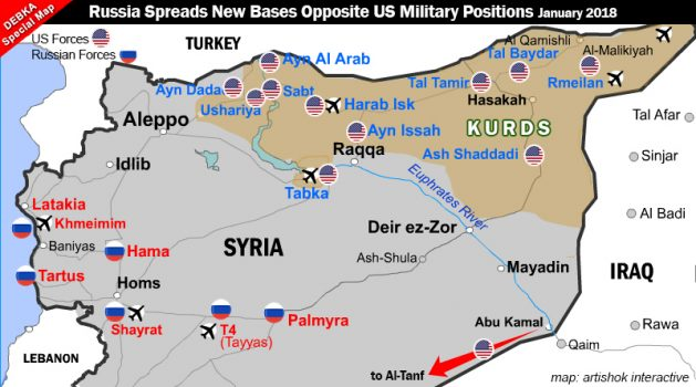 Foreign military bases in Syria. Source: Debka.
