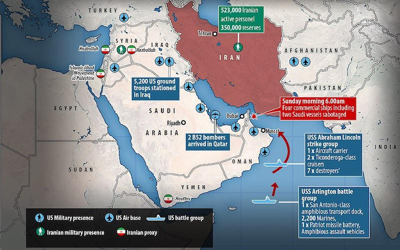 Source: Daily Mail - US Iran Military presence in the Middle East