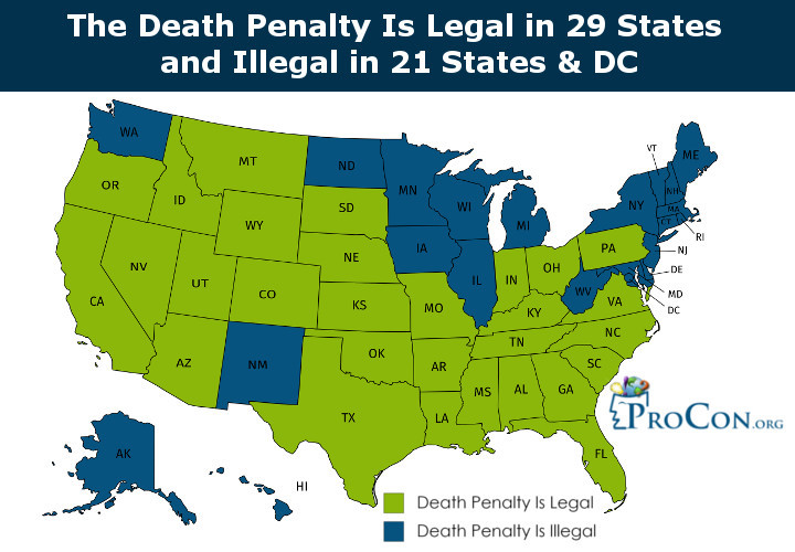 Death Penalty in the US by States. Source: ProCon.org