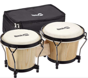 "RockJam 7"" and 8"" Bongo Drum Set with Padded Bag and Tuning Key, Natural"