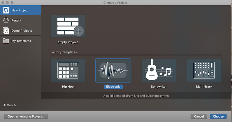 Logic Pro Open new Project