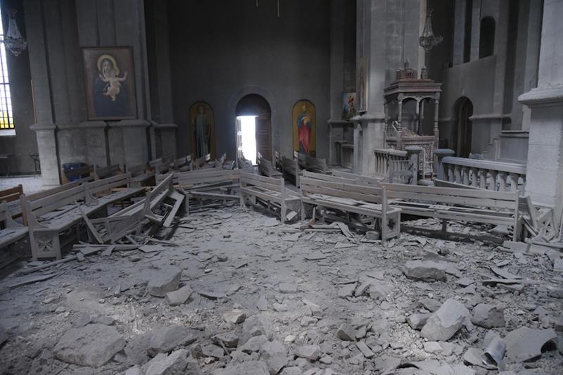Destroyed Ghazanchetsots Church in Shushi
