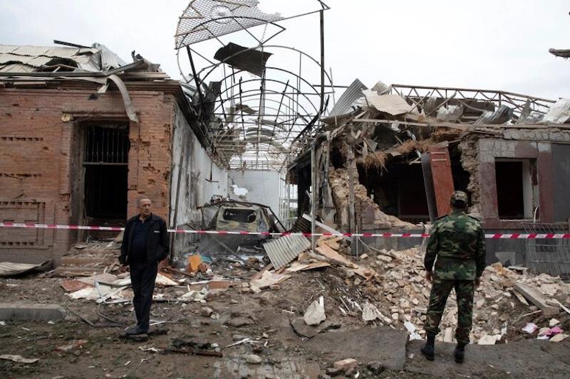 Destroyed buildings in a residential area in Ganja