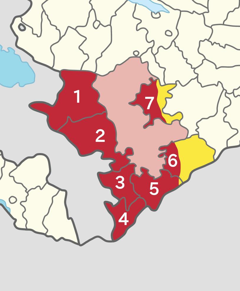 Map of the Armenian occupied districts between 1994-2020. The former NKAO is shown in pink and pre-2020 Azerbaijani-held territory in yellow. 1. Kalbajar 2. Lachin 3. Qubadli 4. Zangilan 5. Jabrayil 6. Fuzuli 7. Agdam