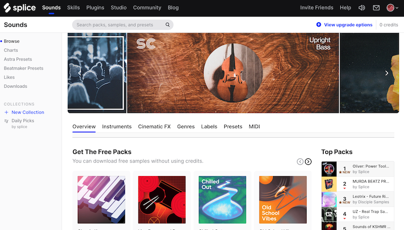Splice Sounds homepage